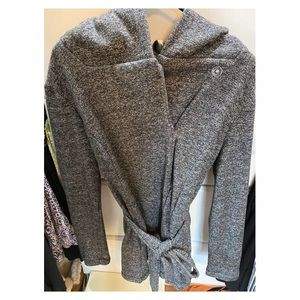 Merona Heather Gray Peacoat with Belt and Hood